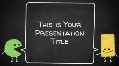 Free educational Powerpoint template and Google Slides theme with blackboard and chalk characters