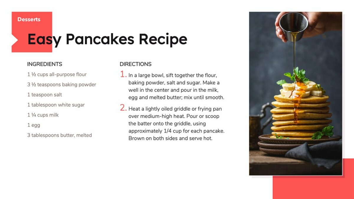 Recipe book made with Google Slides and SlidesCarnival template