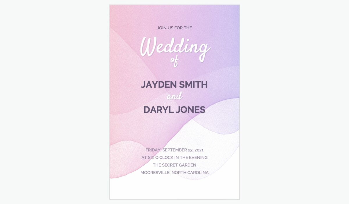Wedding invitation made with Google Slides and SlidesCarnival template