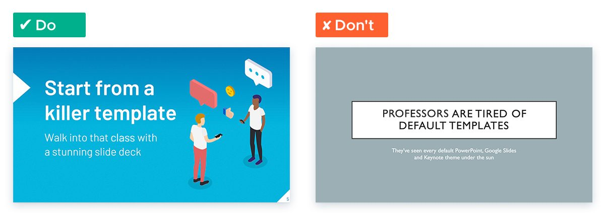 Template with custom illustrated design vs default PowerPoint template