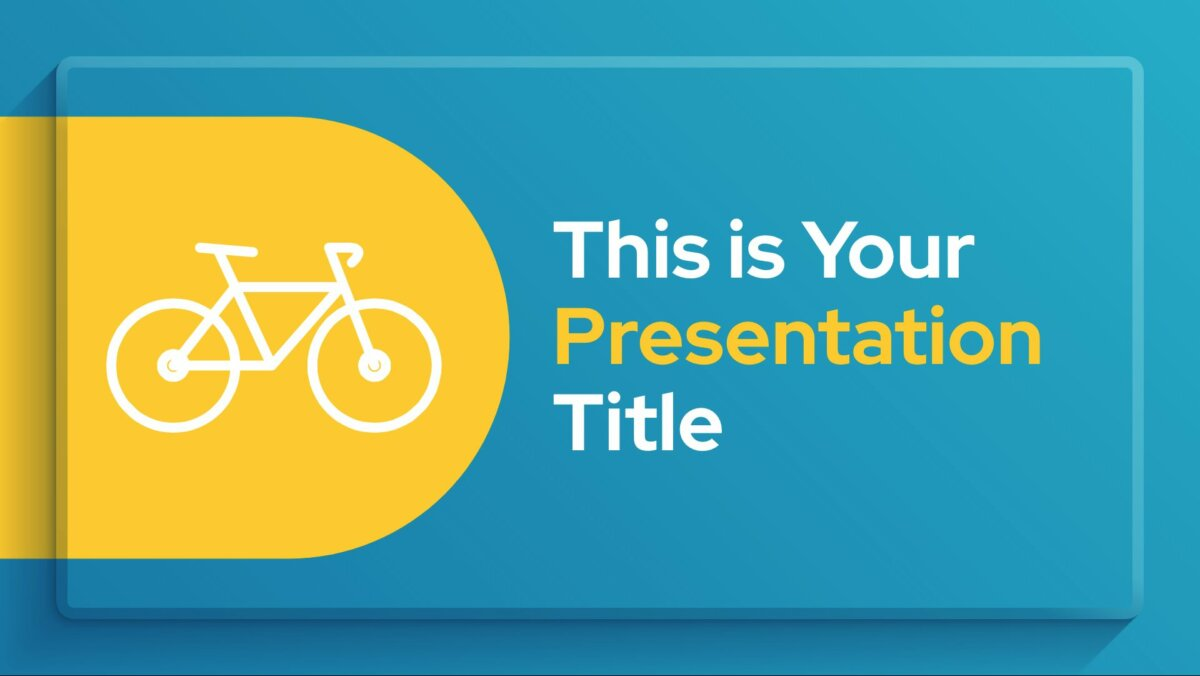 Free simple Powerpoint template and Google Slides theme in blue and yellow with frame