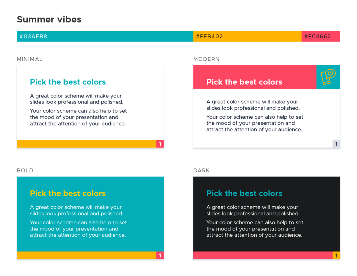 Color scheme for presentations - Summer vibes