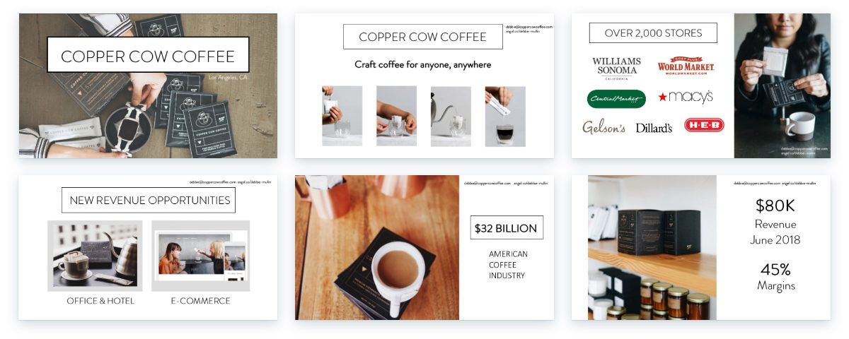 Sample slides from Copper Cow business plan presentation