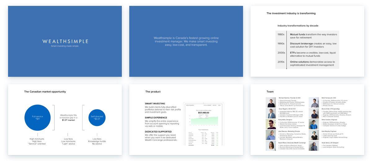 Sample slides from Wealthsimple business plan presentation
