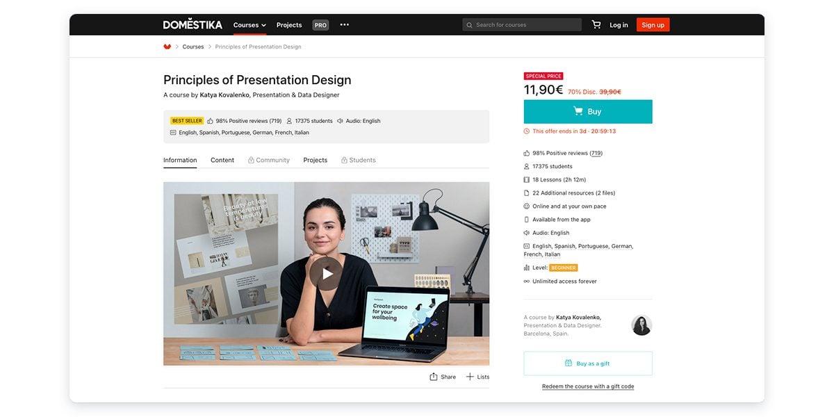 Principles of Presentation Design with Domestika