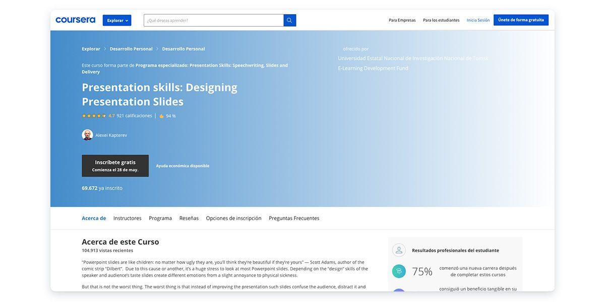 Presentation Skills: Designing Presentation Slides with Coursera